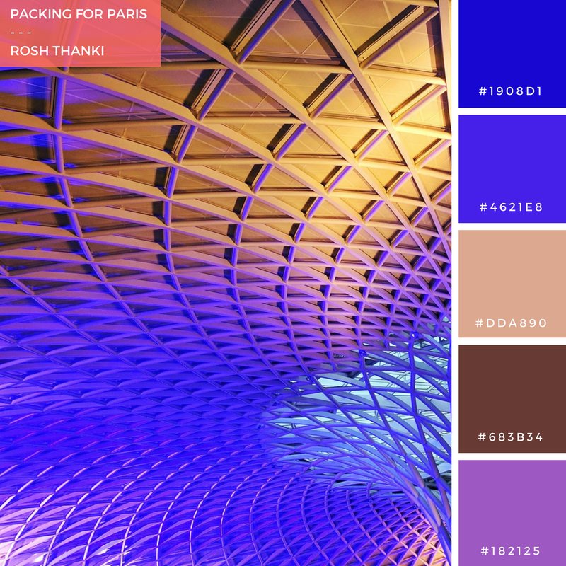 Colour Palette for Packing for Paris by Rosh Thanki, King's cross station's geometric purple roof