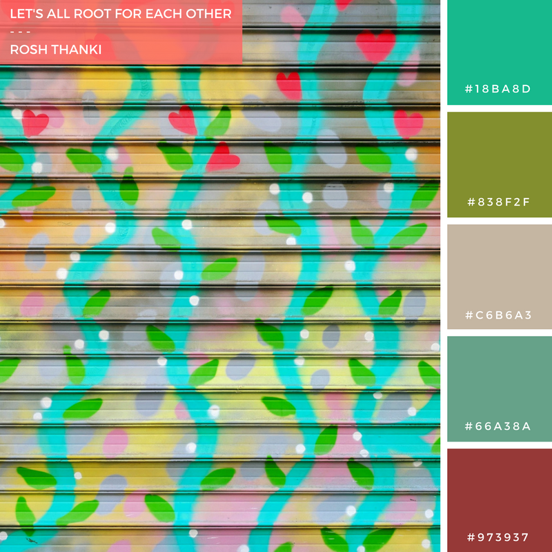 Colour Palette for Let's All Root for Each Other by Rosh Thanki, shutter art in Paris by Kashink