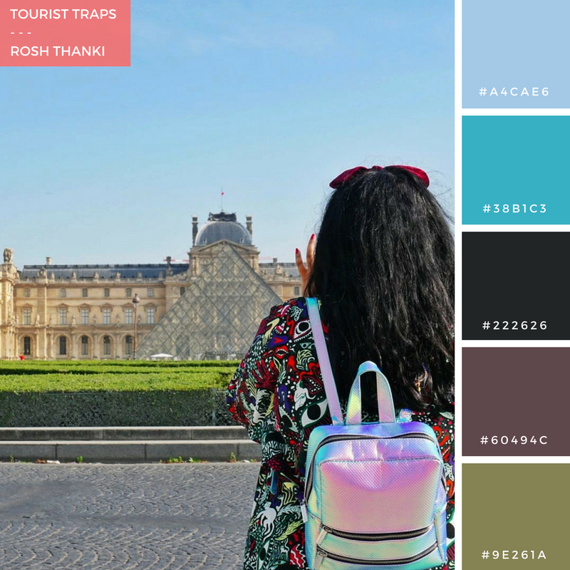 Colour Palette for Tourist Traps by Rosh Thanki, back portrait at the Louvre in Paris