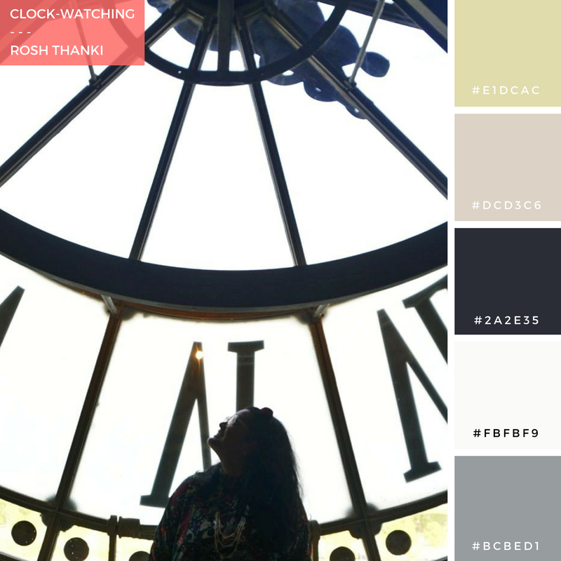Colour Palette for Clock-Watching by Rosh Thanki, giant clock at Cafe Campana in Paris