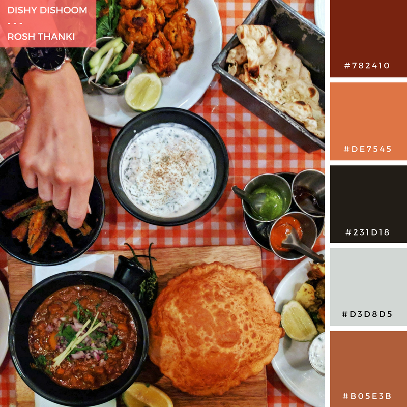 Colour Palette for Dishy Dishoom, by Rosh Thanki, food flat flay of indian food at dishoom in carnaby street
