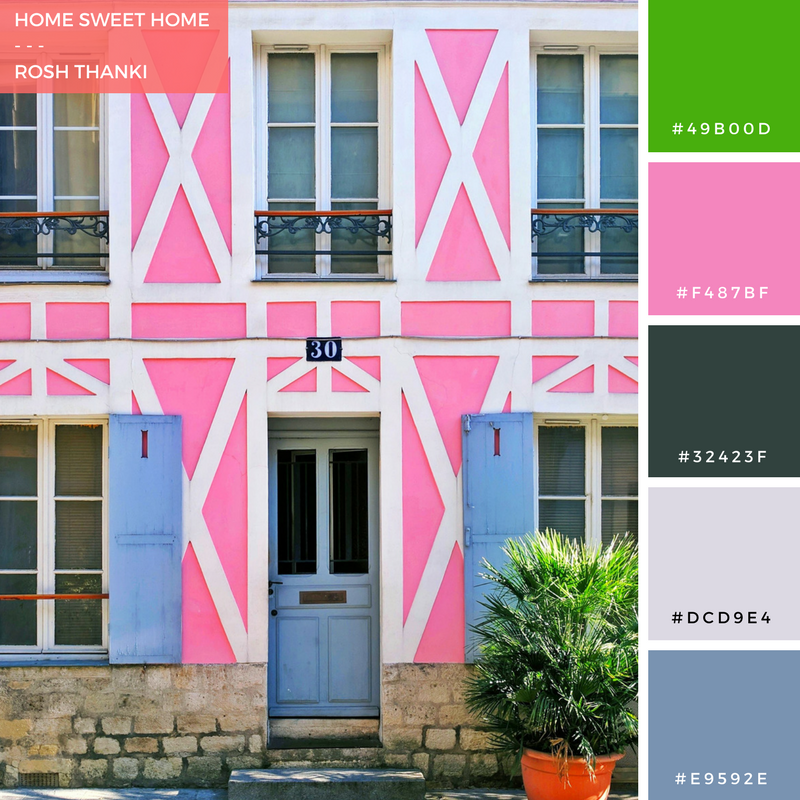 Colour Palette for Home Sweet Home by Rosh Thanki, pink house at the Rue Crémieux in paris