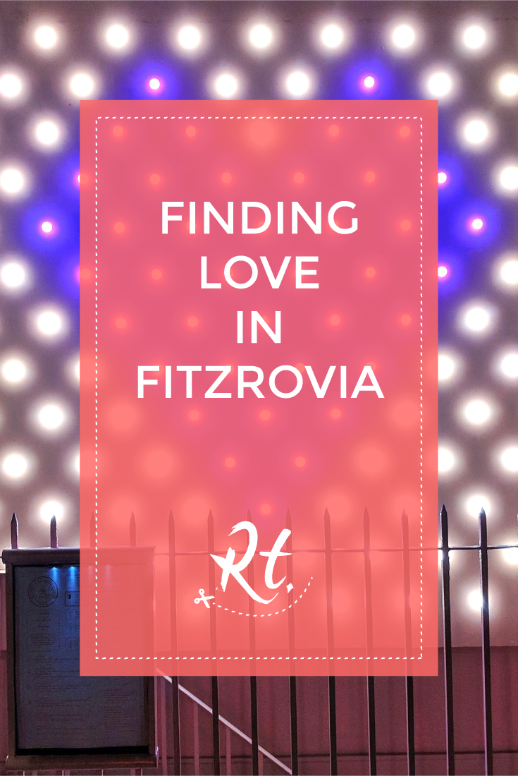 Finding Love in Fitzrovia by Rosh Thanki, neon heart lights at Bourne & Hollingsworth Bar
