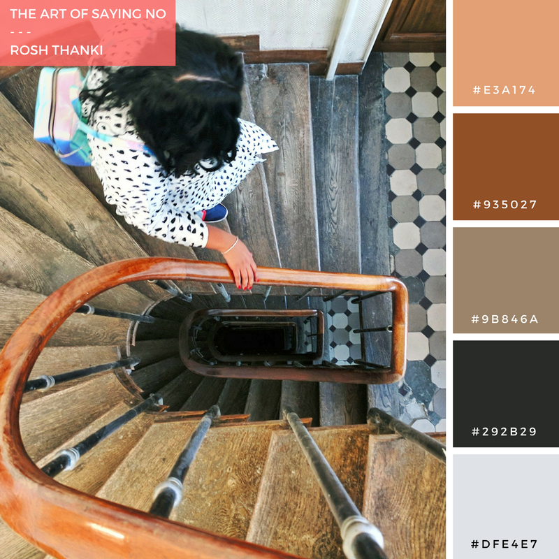 Colour Palette for The Art of Saying No by Rosh Thanki, Parisian spiral staircase