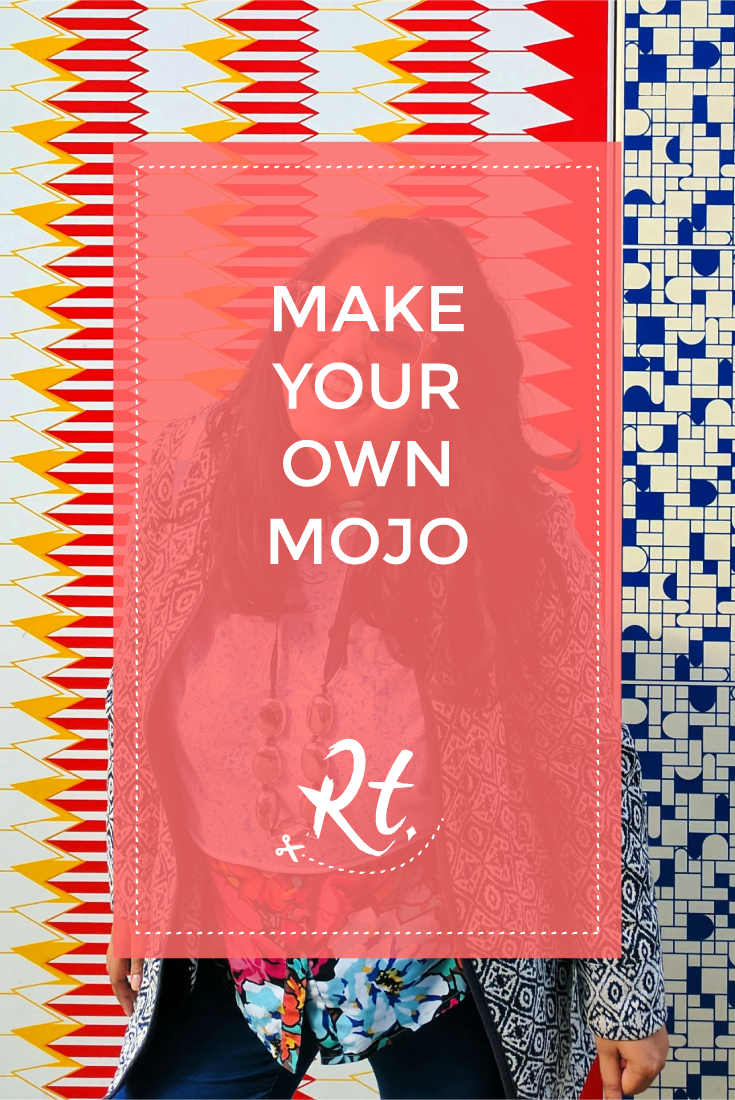 Make Your Own Mojo by Rosh Thanki, standing in front of Jacqueline Poncelet's Wrapper at Edgware Road station