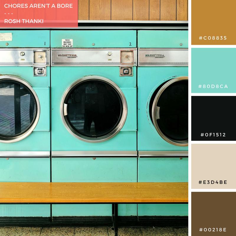 Colour Palette for Chores Aren't a Bore, by Rosh Thanki, barbican retro laundrette