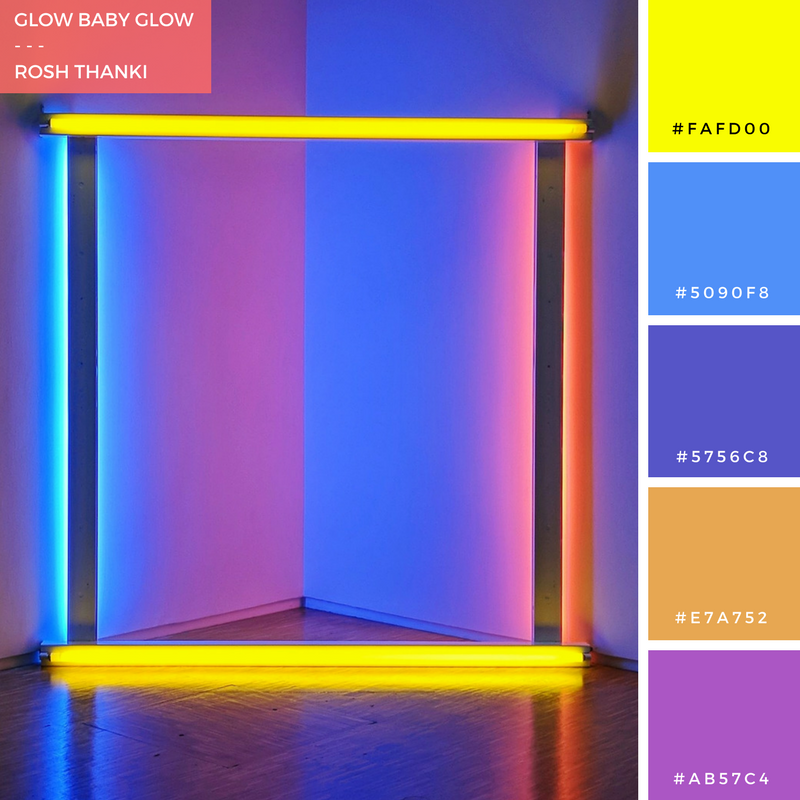 Colour Palette for Glow Baby Glow, by Rosh Thanki, Dan Flavin's neon artwork at the centre pompidou