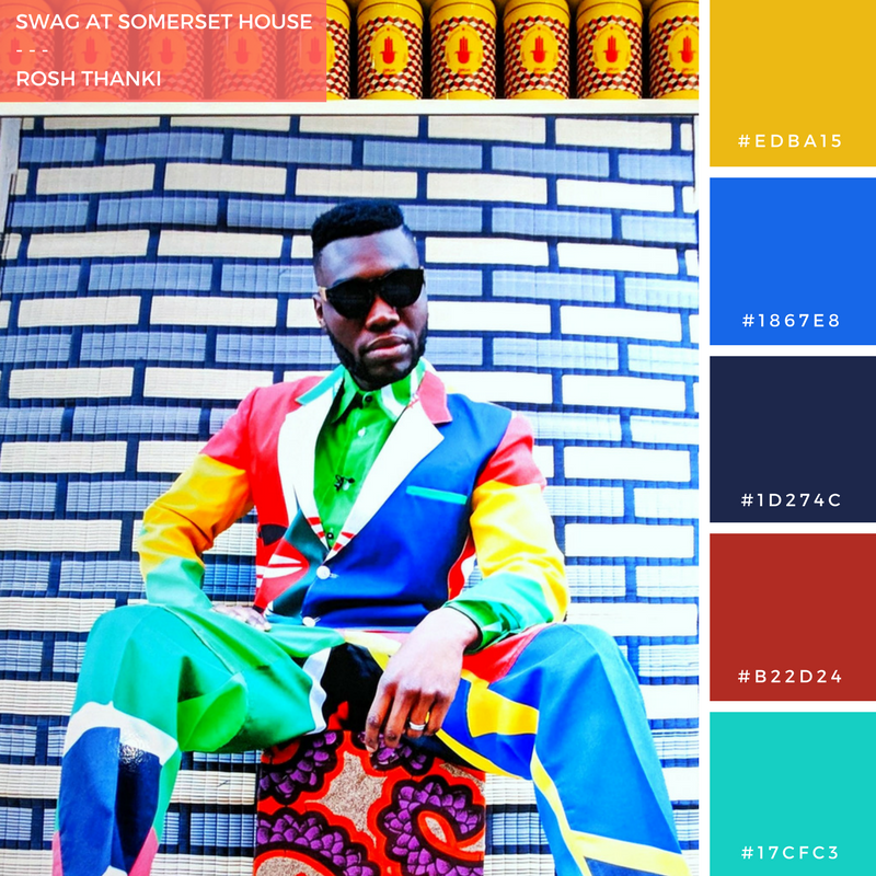 Colour Palette for Swag at Somerset House by Rosh Thanki, Hassan Hajjaj's exhibition at somerset house