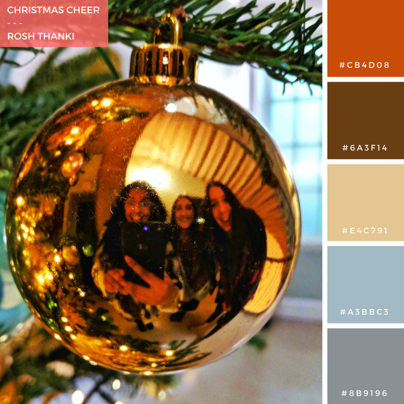 Colour Palette for Christmas Cheer by Rosh Thanki, Somerset House Fortnum and Mason Christmas tree, bauble reflection