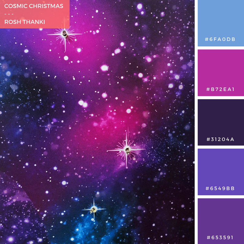 Colour Palette for Cosmic Christmas by Rosh Thanki, Paperchase space style Christmas wallpaper