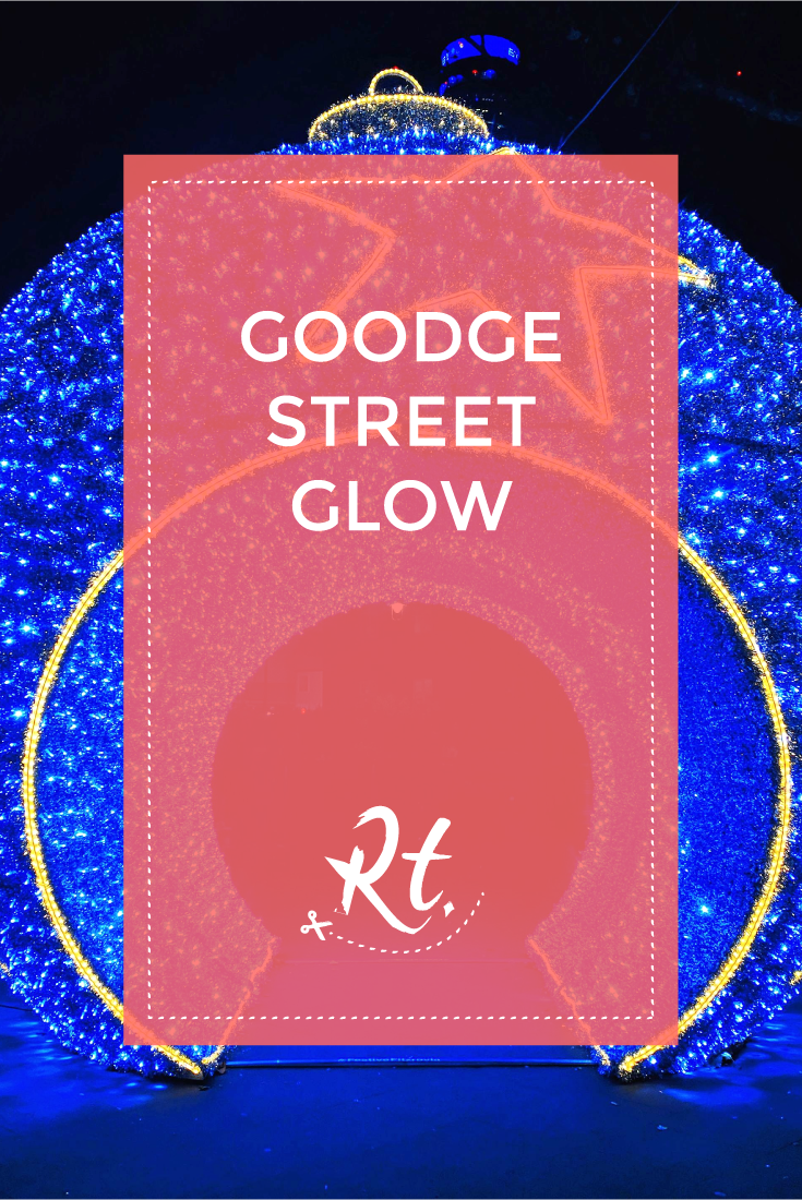 Goodge Street Glow by Rosh Thanki, giant christmas bauble with tinsel and fairy lights at goodge street station