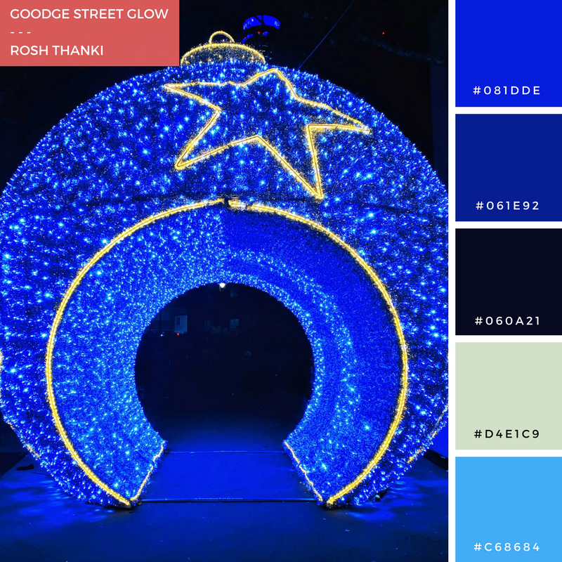 Colour Palette for Goodge Street Glow by Rosh Thanki, giant christmas bauble with tinsel and fairy lights at goodge street station
