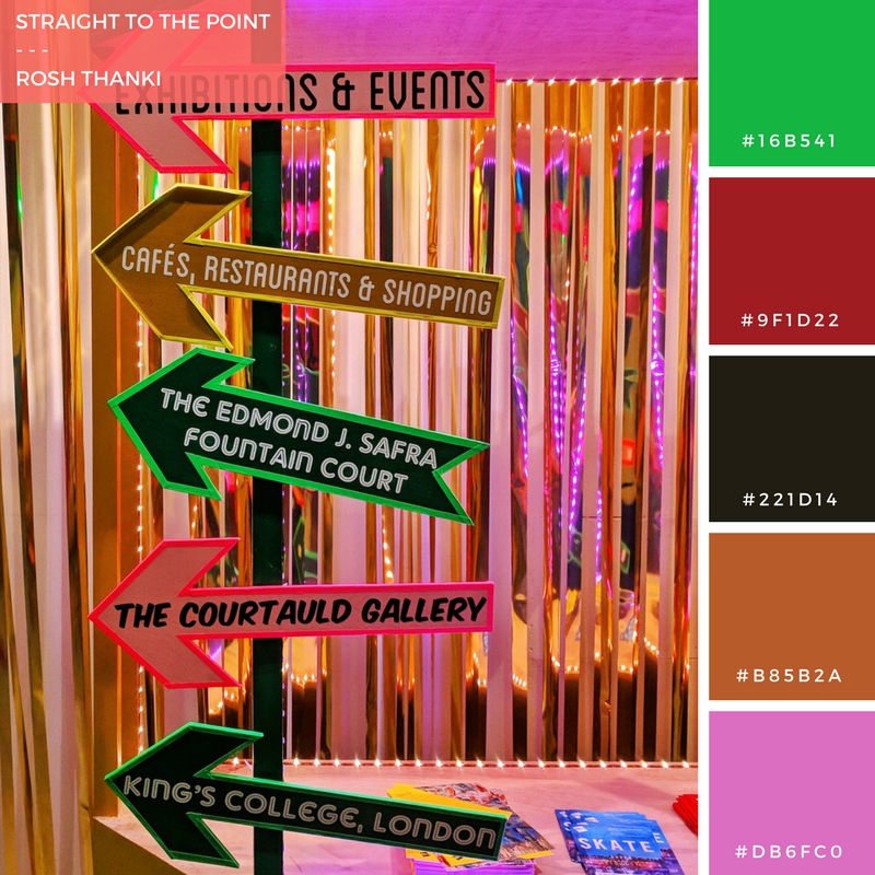 Colour Palette for Straight to the Point by Rosh Thanki, Chloe Lamford's Show Room stage installation at somerset house