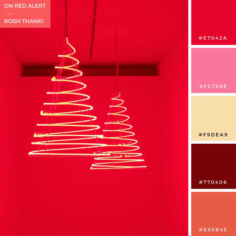 Colour Palette for On Red Alert by Rosh Thanki, Medusa exhibition at the Musée d'Art moderne de la Ville de Paris