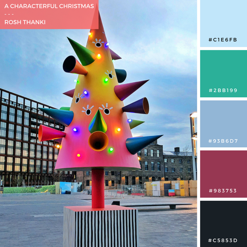 Colour Palette for A Characterful Christmas by Rosh Thanki, Colourful Christmas tree in granary square, kings cross by the modern institute