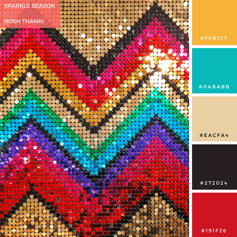 Colour Palette for Sparkle Season by Rosh Thanki, habitat UK christmas sequin wall