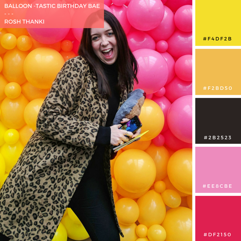 Colour Palette for Balloon-tastic Birthday Bae by Rosh Thanki, Emma Jane Palin posing in front of a balloon wall