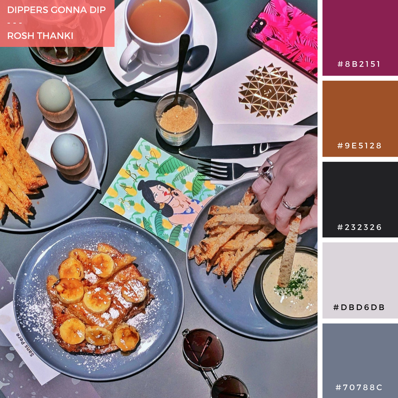 Colour Palette for Dippers Gonna Dip by Rosh Thanki, Sans Pere brunch flat lay with Emma Jane Palin and Natasha Nuttall