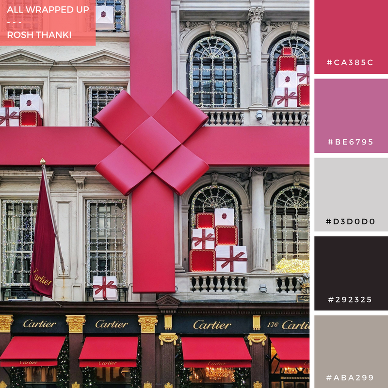 Colour Palette for All Wrapped Up by Rosh Thanki, Cartier red bow exterior styling in London
