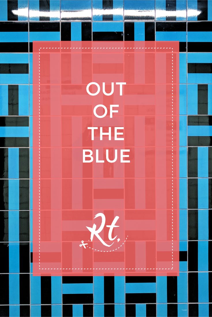Out of the Blue by Rosh Thanki, blue geometric tiles by GIles Round at Victoria station