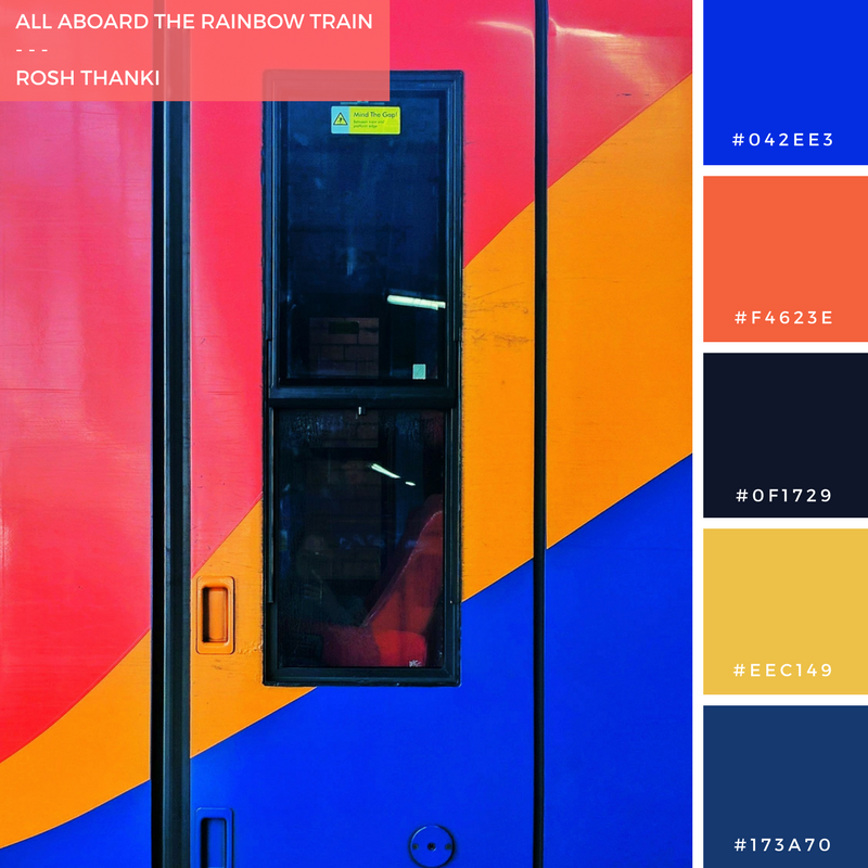 Colour Palette for All Aboard the Rainbow Train by Rosh Thanki, south west rainbow train at waterloo station