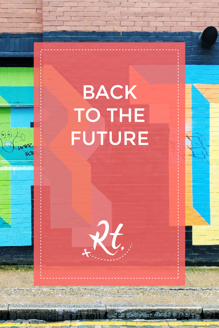 Back to the Future by Rosh Thanki, Ben Eine typography street art in Shoreditch