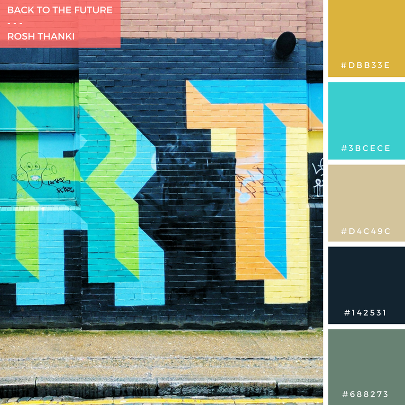 Colour Palette for Back to the Future by Rosh Thanki, Ben Eine typography street art in Shoreditch