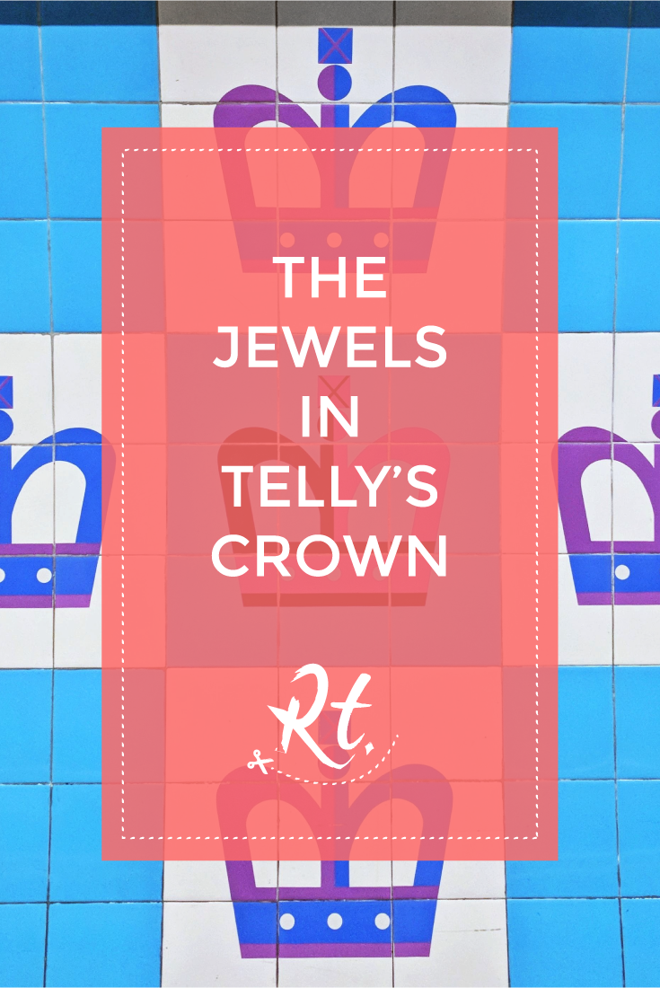 The Jewels in Telly's Crown by Rosh Thanki, crown tiles at king's cross tube station