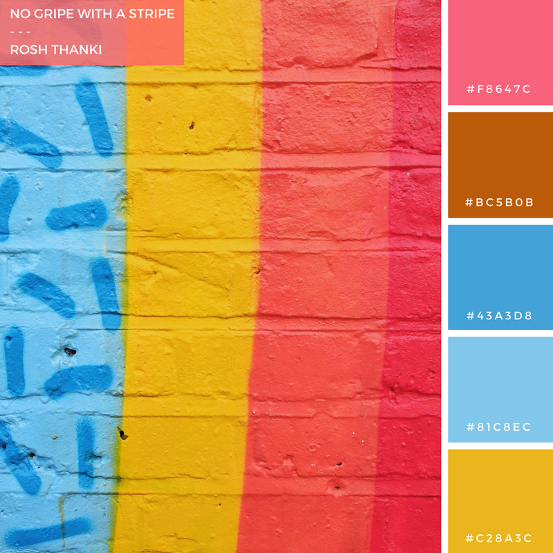 Colour Palette for No Gripe With a Stripe by Rosh Thanki, David Shilling Law rainbow street art in shoreditch