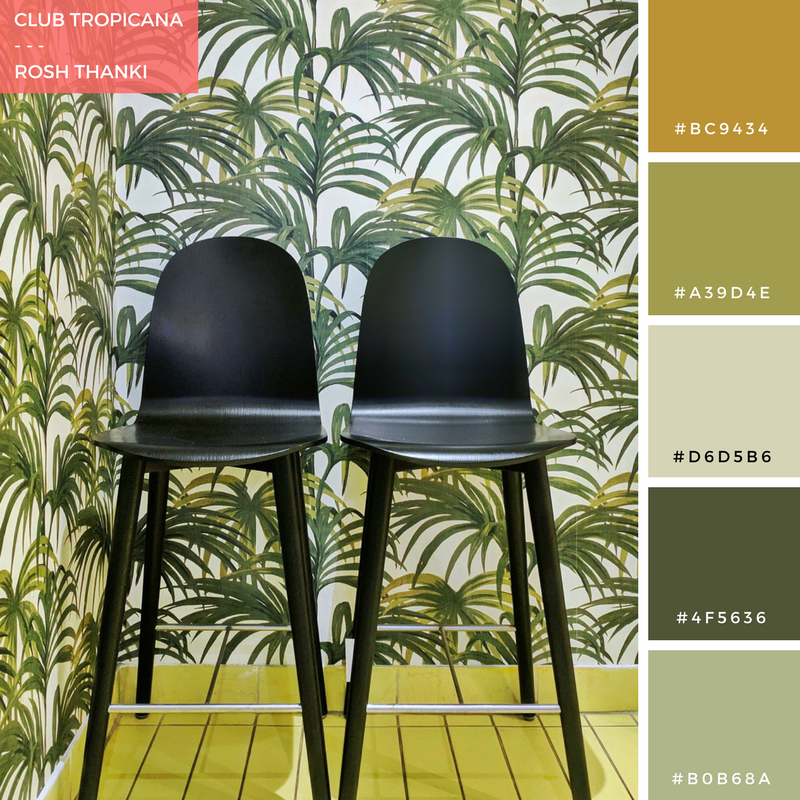 Colour Palette for Club Tropicana by Rosh Thanki, Sans Pere cafe with house of hackney wallpaper