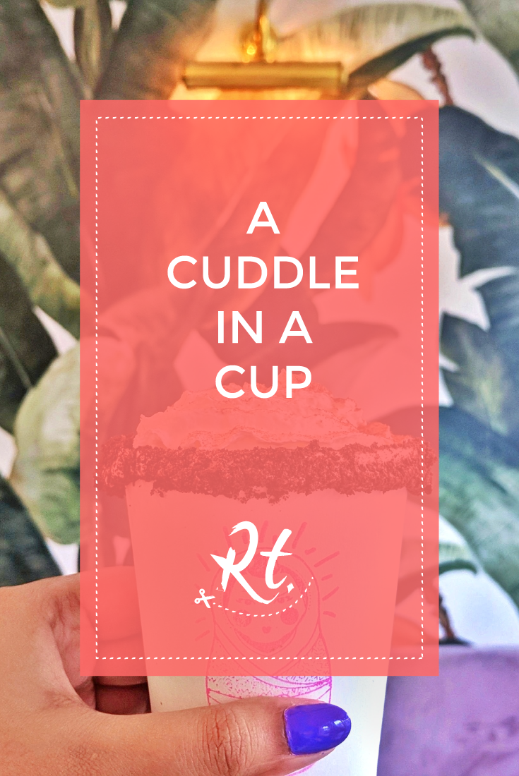 A Cuddle in a Cup, by Rosh Thanki, filipino hot chocolate at mamasons dirty ice cream in camden, lilac velvet seat and palm tree wallpaper