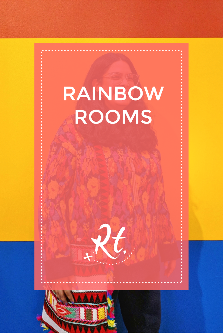 Rainbow Rooms, by Rosh Thanki, wearing colourful zara jumper with reclaimed vintage bag in front of Nathalie Du Pasquier's exhibition at the camden arts centre
