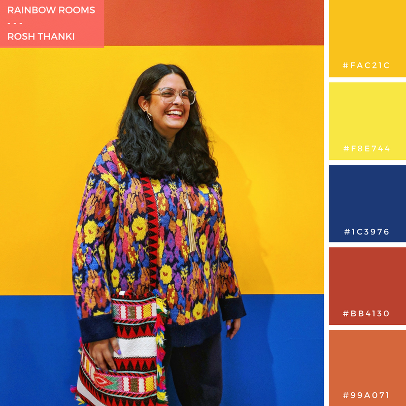 Colour Palette for Rainbow Rooms, by Rosh Thanki, wearing colourful zara jumper with reclaimed vintage bag in front of Nathalie Du Pasquier's exhibition at the camden arts centre