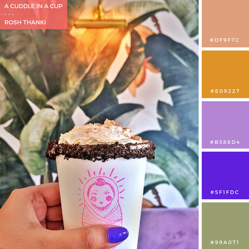 Colour Palette for A Cuddle in a Cup, by Rosh Thanki, filipino hot chocolate at mamasons dirty ice cream in camden, lilac velvet seat and palm tree wallpaper.png