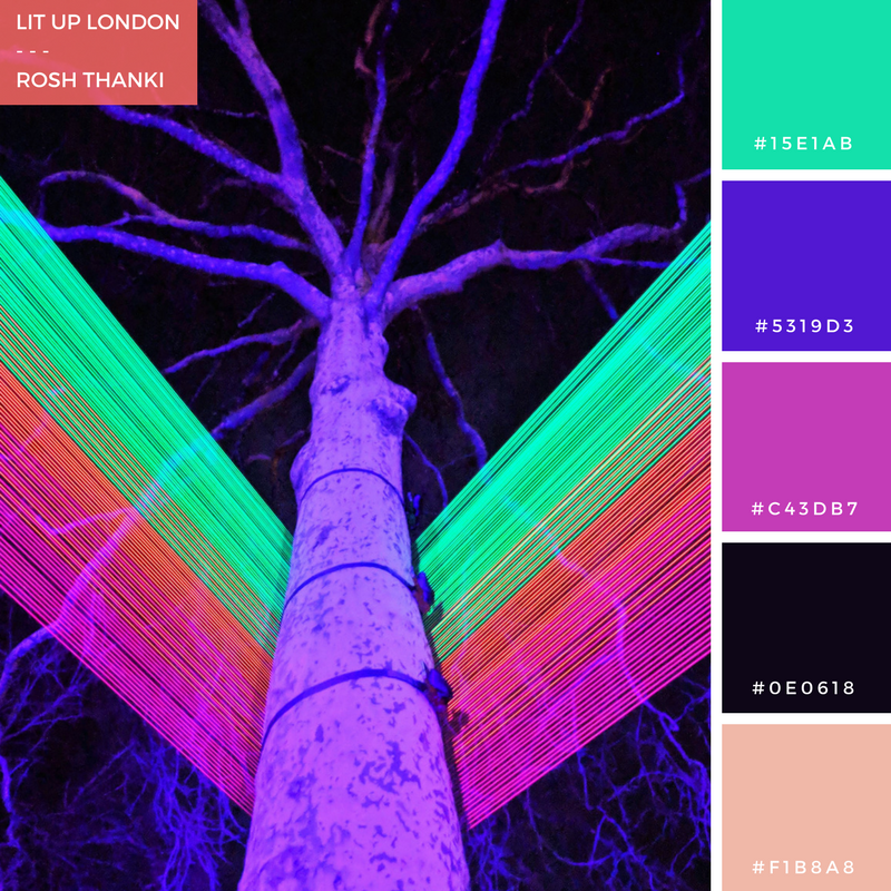 Colour Palette for Lit Up London by Rosh Thanki, Spectral installation Katarzyna Malejka and Joachim Slugocki at lumiere london in st james' square