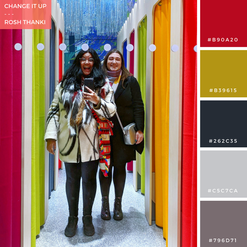 Colour Palette for Change it Up by Rosh Thanki, posing in front of Monki's mirror at westfield stratford city with natasha nuttall