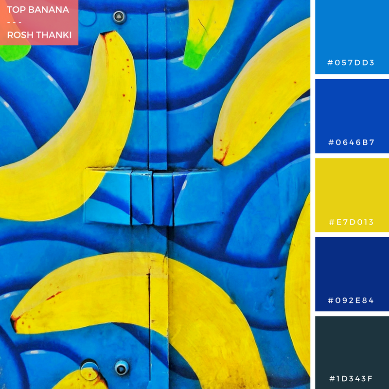 Colour Palette for Top Banana by Rosh Thanki, bananas falling street art on a telephone exchange box by steven ball