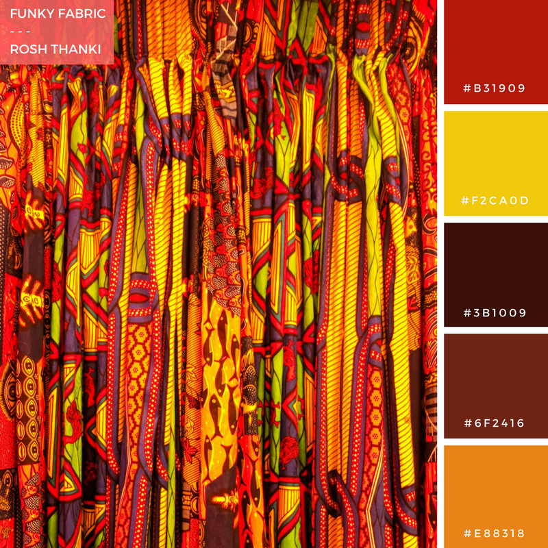 Colour Palette for Funky Fabrics by Rosh Thanki, African fabric curtains in peckham levels
