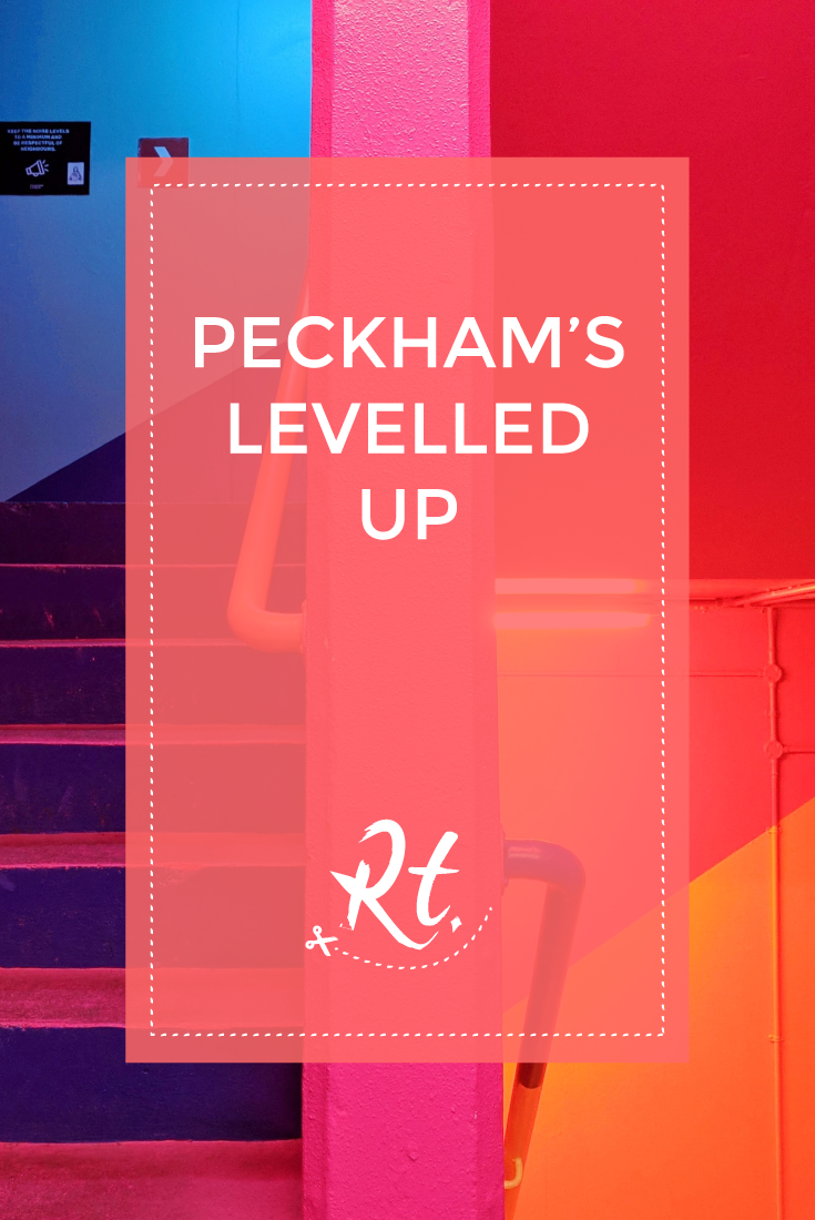 Peckham's Levelled Up by Rosh Thanki, Peckham Levels multi-colour staircase by Alexander Owen Architecture and the decorating company uk