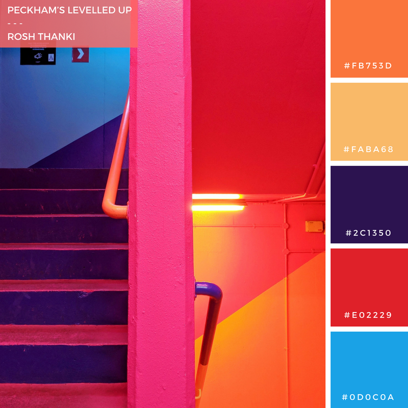 Colour Palette for Peckham's Levelled Up by Rosh Thanki, Peckham Levels multi-colour staircase by Alexander Owen Architecture and the decorating company uk