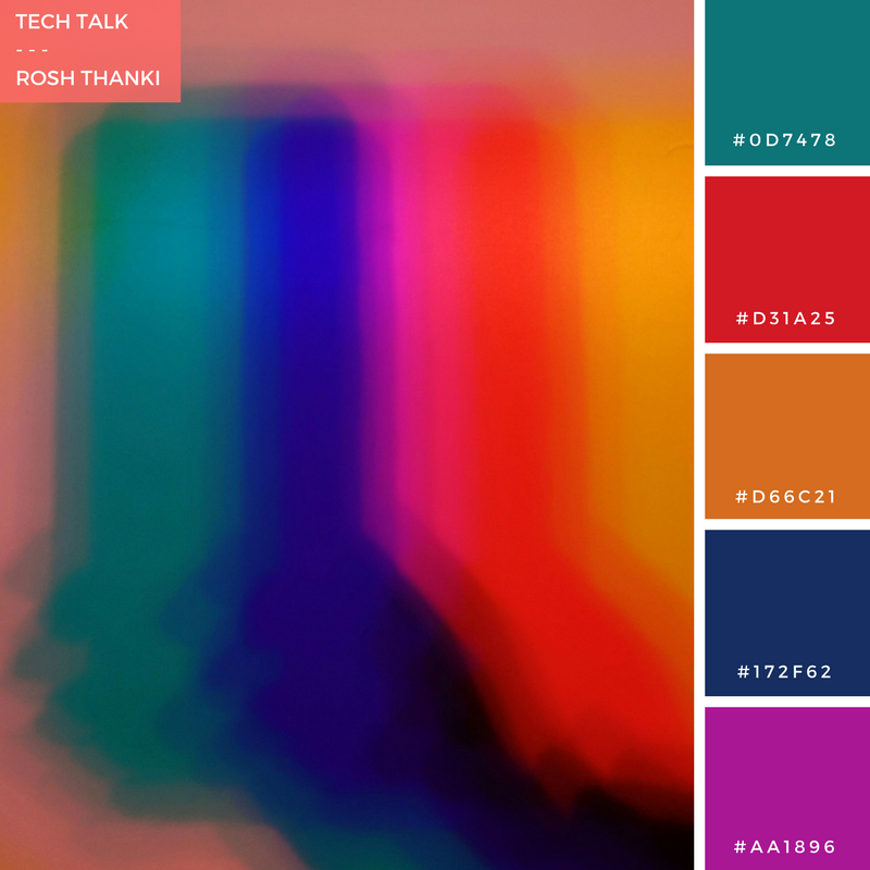 Colour Palette for Tech Talk by Rosh Thanki, Malgosia Benham shadow play artwork at the canary wharf lights festival