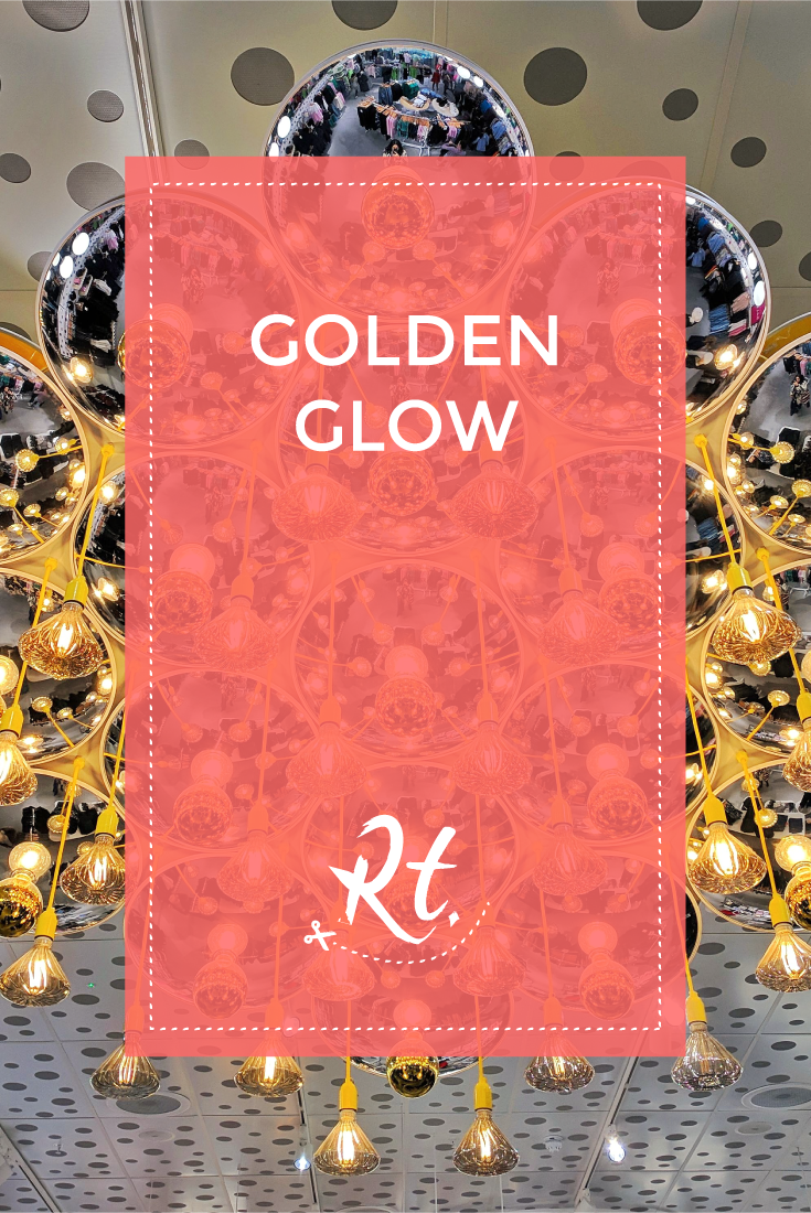 Golden Glow by Rosh Thanki, gold lighting at Monki in westfield stratford