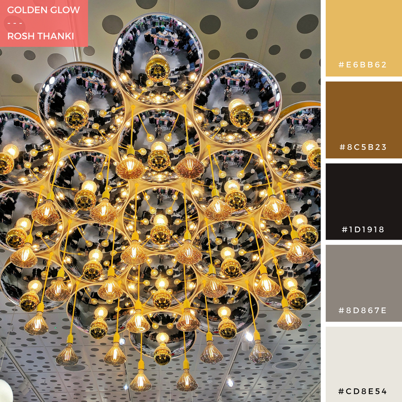 Colour Palette for Golden Glow by Rosh Thanki, gold lighting at Monki in westfield stratford