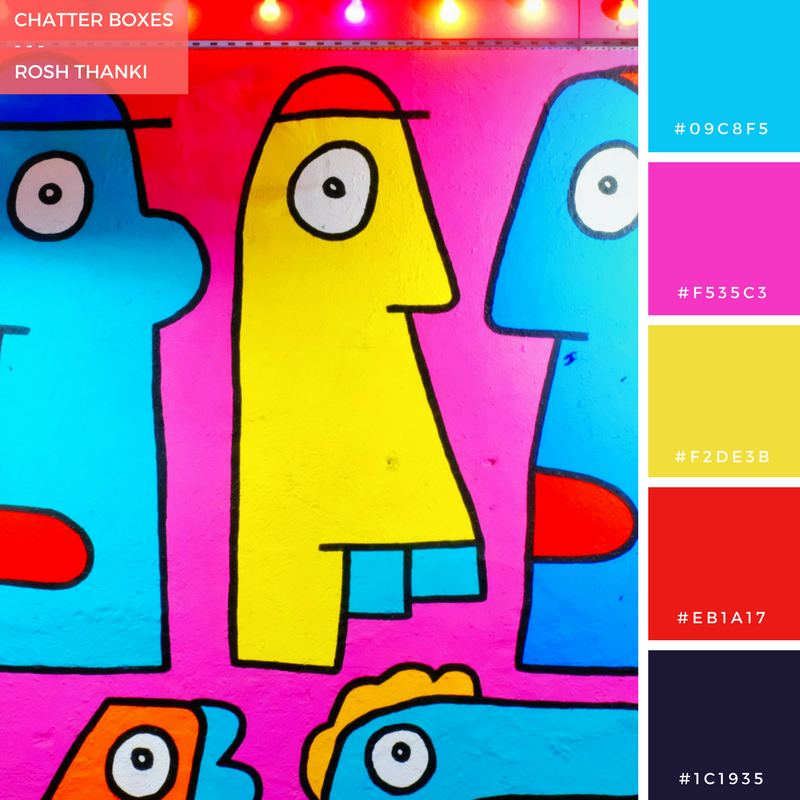 Colour Palette for Chatter Boxes by Rosh Thanki, Thierry Noir faces at Block Shoreditch