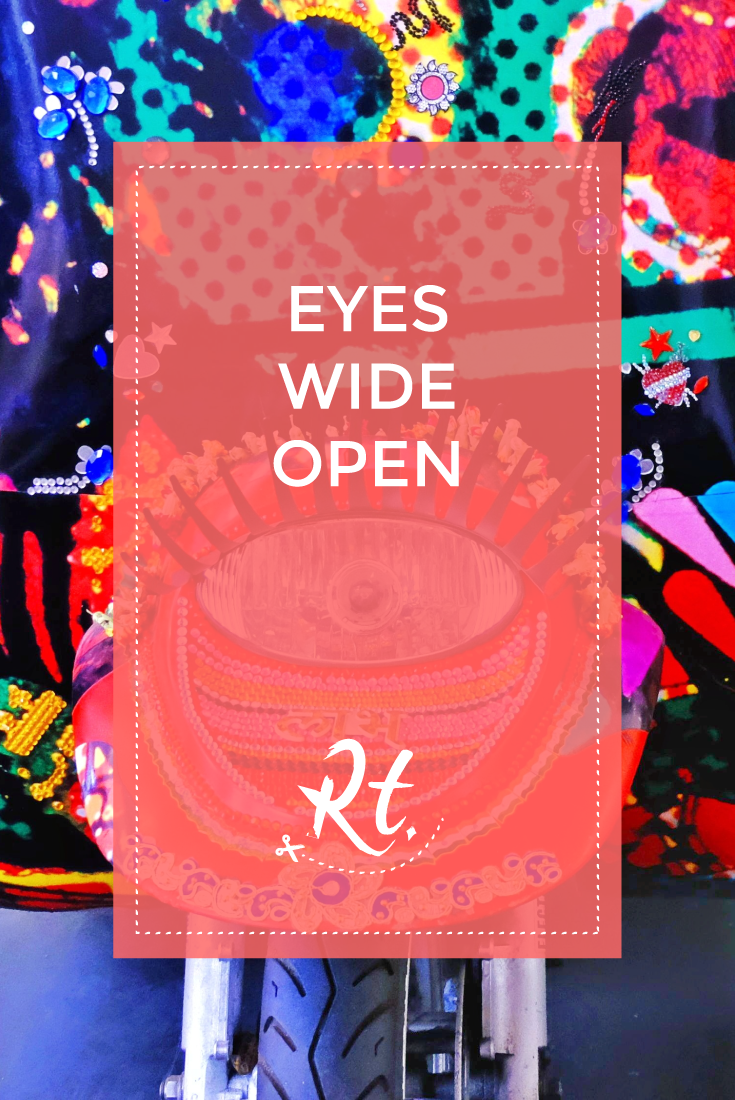 Eyes Wide Open by Rosh Thanki, indian decorated rickshaw by Chila Kumari Burman at science museum