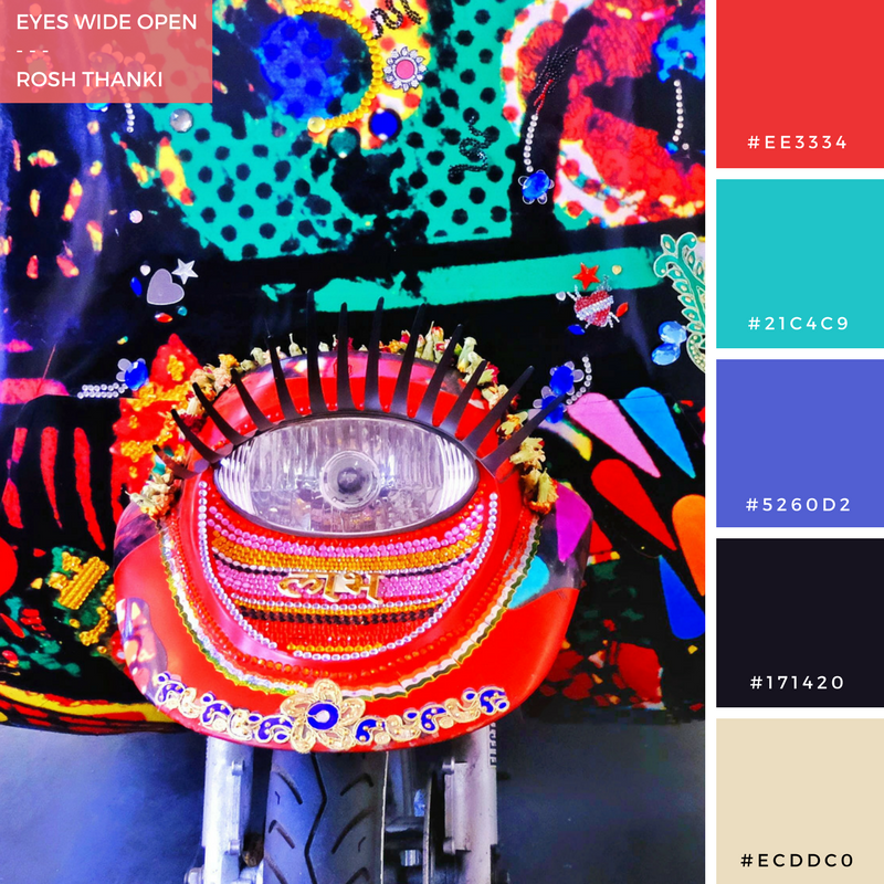 Colour Palette for Eyes Wide Open by Rosh Thanki, indian decorated rickshaw by Chila Kumari Burman at science museum