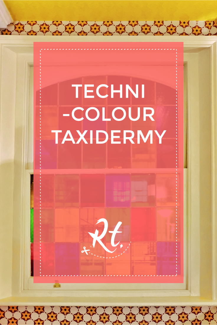 Technicolour Taxidermy by Rosh Thanki, stained glass window at the king's head members club