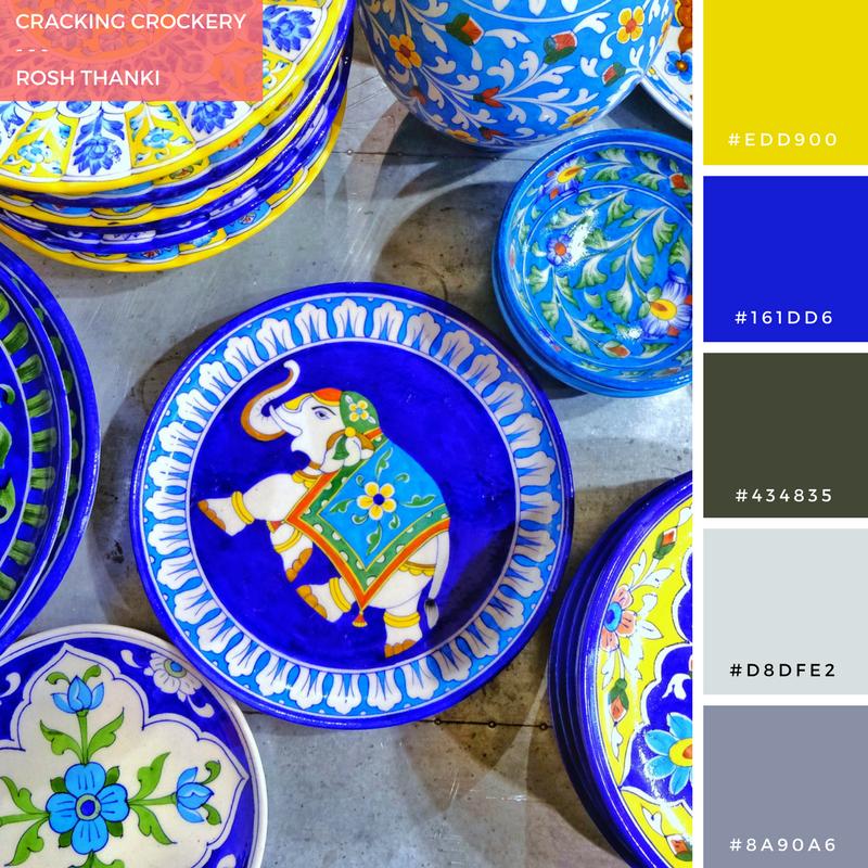 Colour Palette for Cracking Crockery, jaipur blue pottery plates at liberty london