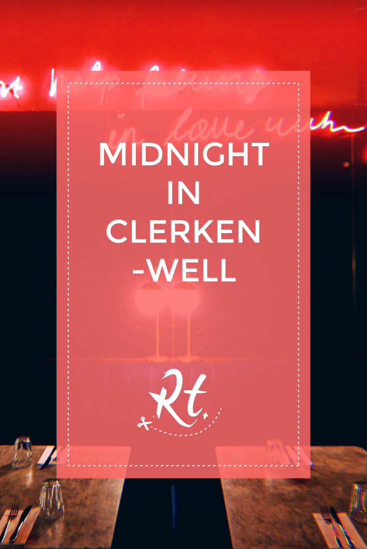 Midnight in Clerkenwell by Rosh Thanki, Grind quote, retro interior, neon sign, velvet booth seats