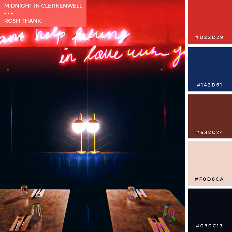 Colour Palette for Midnight in Clerkenwell by Rosh Thanki, Grind quote, retro interior, neon sign, velvet booth seats